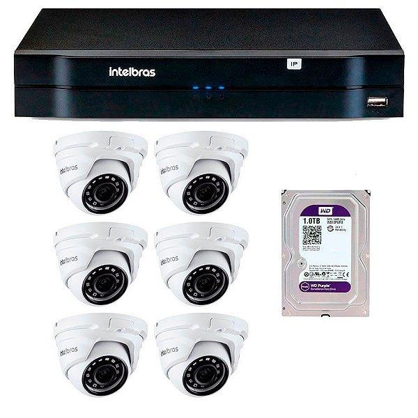 Kit 06 Câmeras IP Full HD Intelbras VIP 1220 D G3 + NVD 1208 + HD 1Tb