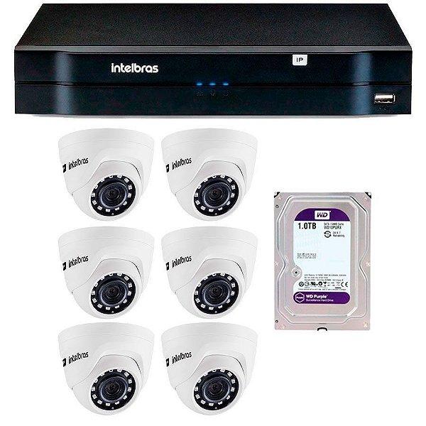 Kit 06 Câmeras IP HD 720p Intelbras VIP 1020 D + NVD 1208 + HD 1TB