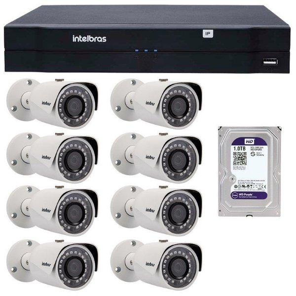 Kit 08 Câmeras IP 1Mp HD 720p Intelbras VIP S 3020 G3 + NVD 1208 Intelbras, NVR, HVR + DB 1TB