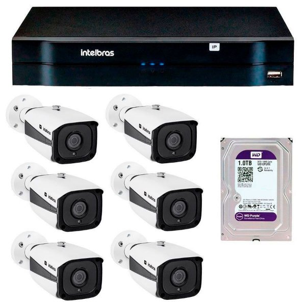 Kit 08 Câmeras IP Full HD Intelbras VIP 1220 B G3 + NVD 1208 + HD 1TB