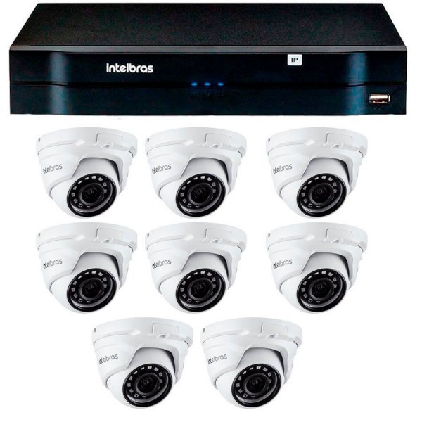 Kit 08 Câmeras IP Full HD Intelbras VIP 1220 D G3 + NVD 1208