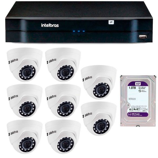 Kit 08 Câmeras IP HD 720p Intelbras VIP 1020 D + NVD 1208 + HD 1TB