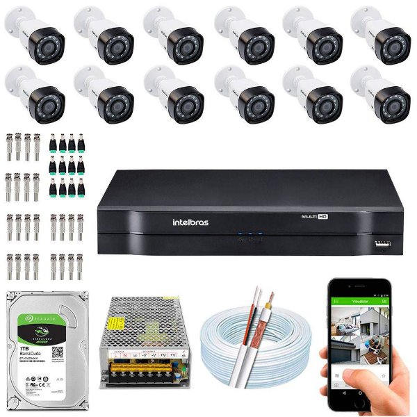 Kit Cftv Dvr + 12 Câmeras Vhd 1220 B G5 ( Com HD ) Intelbras