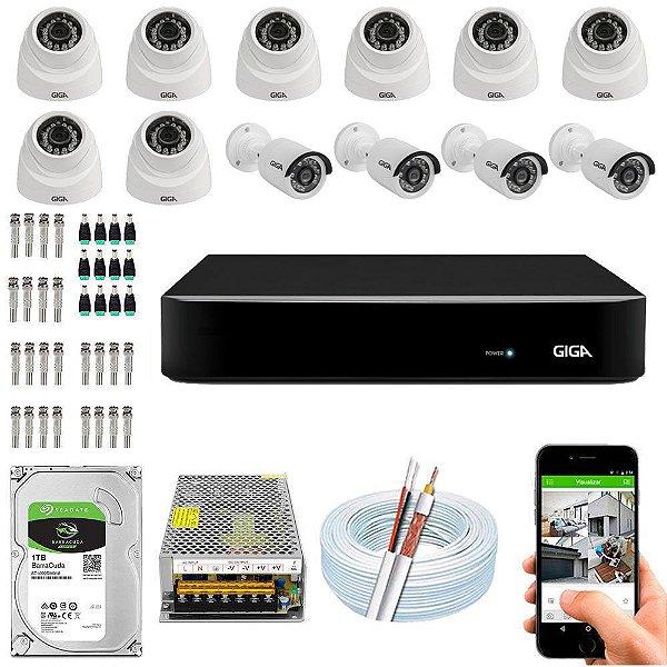 Kit Cftv Dvr Open HD + 12 Câmeras Ahd 720p Interna e Externa ( Com HD Incluso ) - Giga