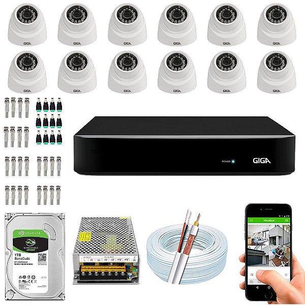 Kit Cftv Dvr Open HD + 12 Câmeras Dome 1080p ( Com HD Incluso ) - Giga