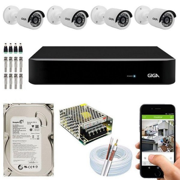 Kit Cftv Dvr Open HD + 4 Câmeras Bullet Ahd 720p ( Com HD Incluso ) - Giga