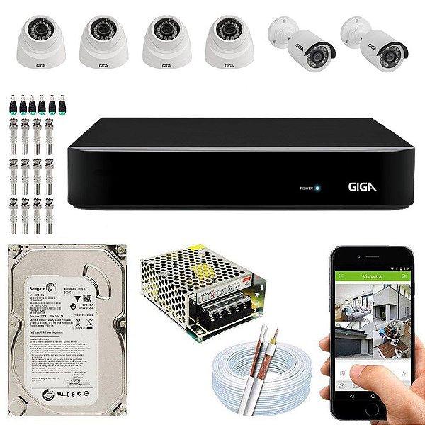 Kit Cftv Dvr Open HD + 6 Câmeras 1080p Interna e Externa ( Com HD Incluso ) - Giga