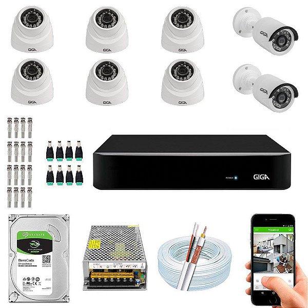 Kit Cftv Dvr Open HD + 8 Câmeras Ahd 720p Interna e Externa ( Com HD Incluso ) - Giga