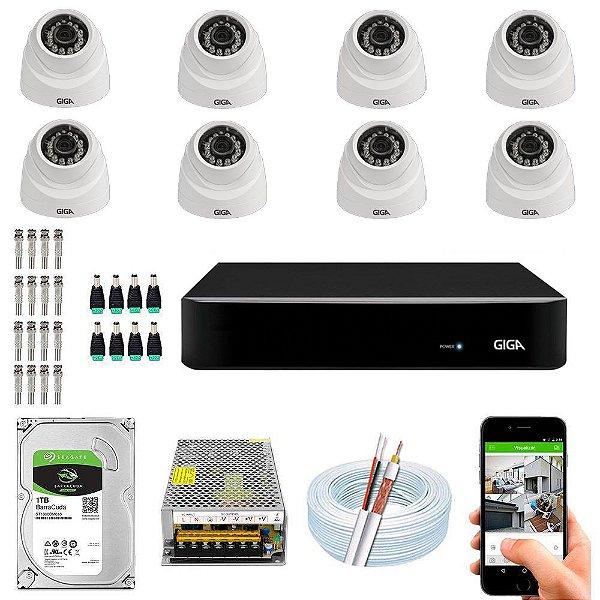 Kit Cftv Dvr Open HD + 8 Câmeras Dome 1080p ( Com HD Incluso ) - Giga