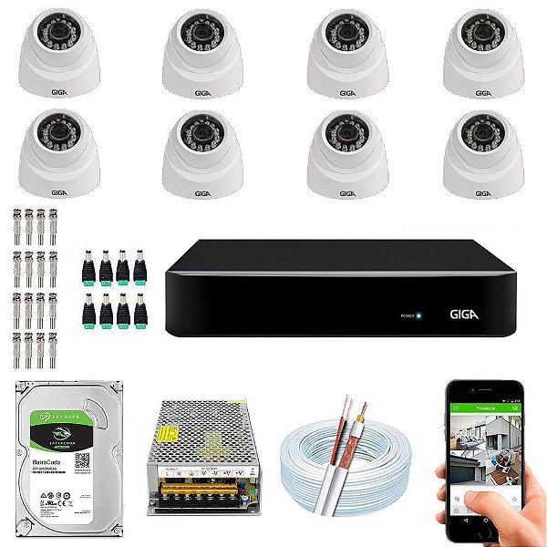 Kit Cftv Dvr Open HD + 8 Câmeras Dome Ahd 720p ( Com HD Incluso ) -  Giga