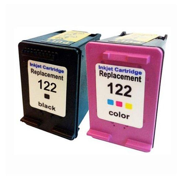 Kit 02 Cartucho de Tinta Hp 122Xl Compatível Preto + Colorido