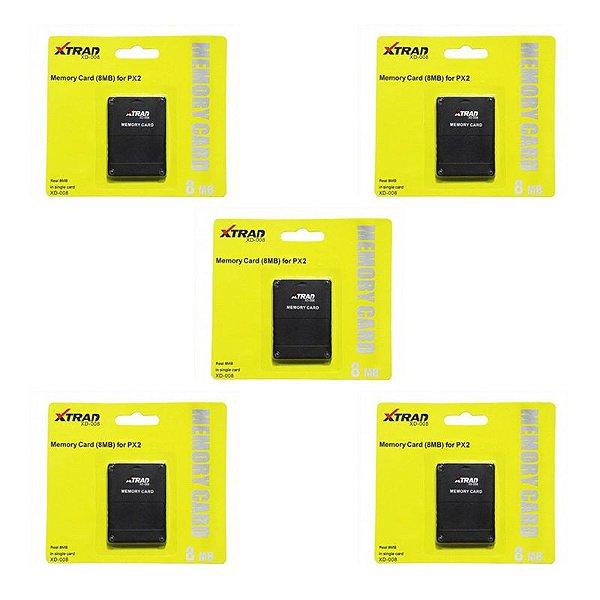 Kit 05 Memory Card 8MB Compatível PS2 XD-008 - Xtrad