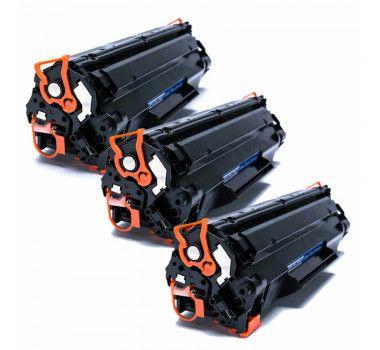 Kit 03 Cartuchos de Toner Compatível HP Cb435A Cb436A Ce285A