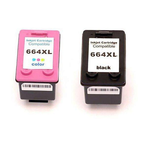 Kit Cartucho de Tinta Hp 664Xl Compatível Preto+ Colorido