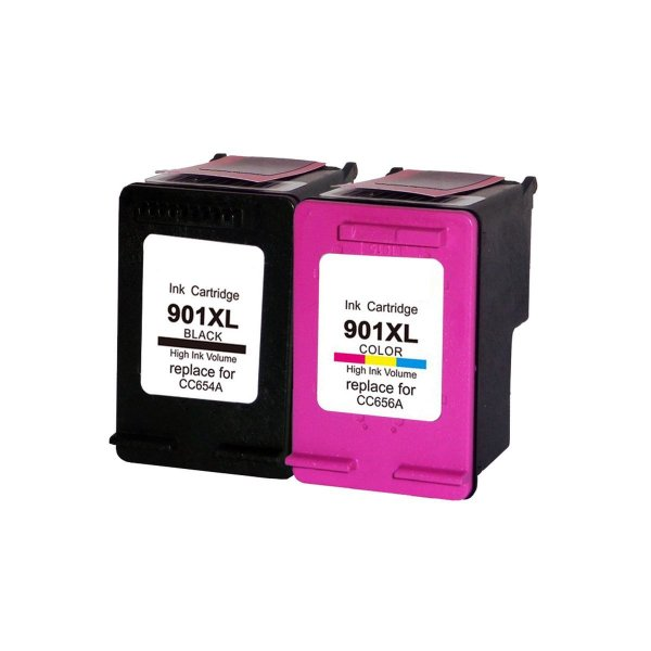 Kit 02 Cartuchos de Tinta Hp 901Xl Compatível Preto + Colorido