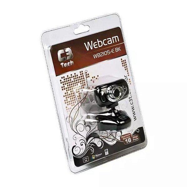 Webcam Wb2105 - E Bk 16mp c/ Microfone - C3tech