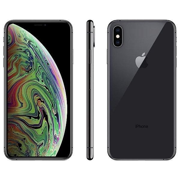 "iPhone XS Max Apple 64GB Cinza Espacial 4G Tela 6,5"" Retina - Câmera Dupla 12MP + Selfie 7MP iOS 12"