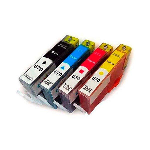 Kit 04 Cartuchos de Tinta Hp 670Xl Compatível Preto + Colorido