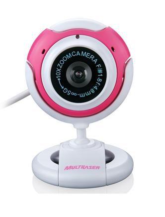 Webcam New Vision Wc042 Branco com Rosa - Multilaser