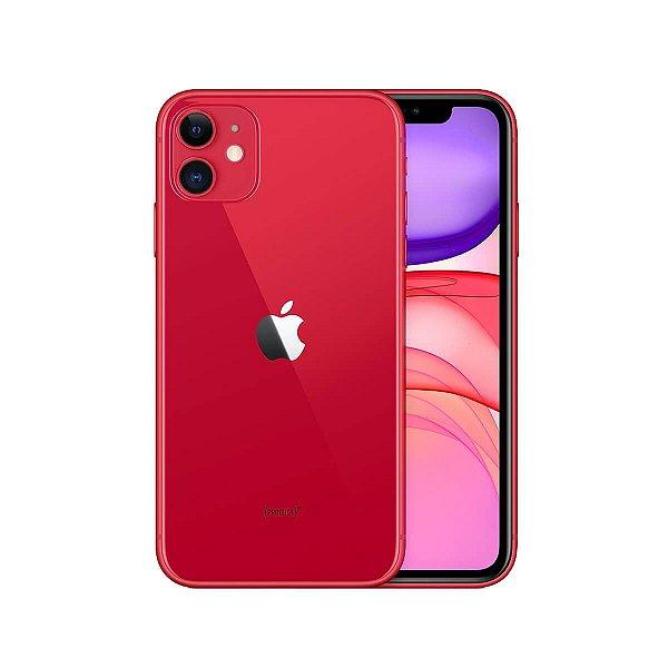 """iPhone 11 Apple 128GB Vermelho 4G Tela 6,1"""" Retina Câmera Dupla 12MP + Selfie 12MP iOS 13"""
