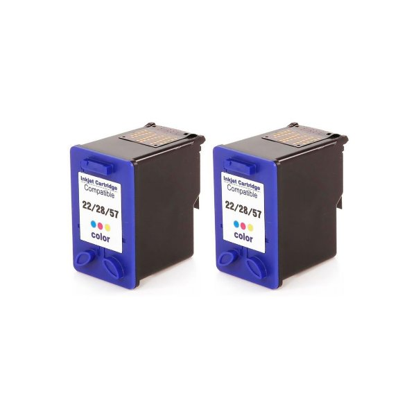 Kit 2 Cartuchos de tinta Compativel HP 22/28/57 (9352/8728/6657) Colorido 14ml