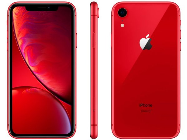 "iPhone XR Apple 64GB Vermelho 4G Tela 6,1"" Retina Câmera 12MP + Selfie 7MP iOS12 Proc. Chip A12"