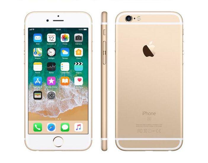 """iPhone 6s Apple 16GB Dourado 4G Tela 4.7"""" Retina Câmera 12MP + Selfie 5MP iOS 11 Proc. A9"""