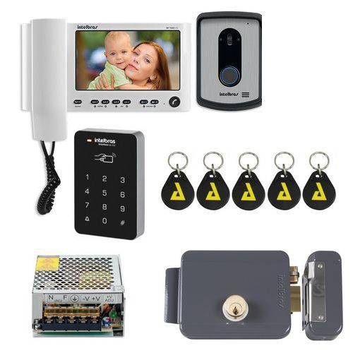Kit Controle de Acesso Video Porteiro Iv 7010 Hs Branco Com senha