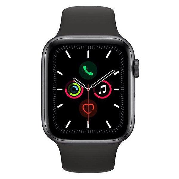 Apple Watch Series 5 Preto com Pulseira Sport Band Preto, 44mm, Bluetooth e 32 GB