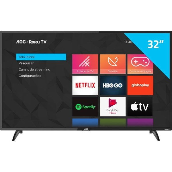 """AOC Roku TV Smart TV LED 32"""" 32S5195/78G com Wi-fi, Controle Remoto com atalhos, Roku Mobile, Miracast, Entradas HDMI e USB"""