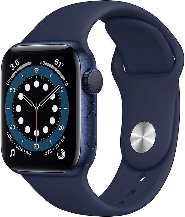 Apple  Watch Series 6 Aluminum Case com Deep Navy Sport Band 40mm (GPS) Com Oximetro Pulseira Esportiva (A2291)