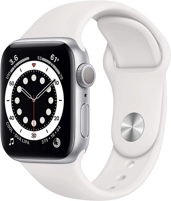 Apple Watch Series 6 Silver Aluminum Case Com White Sport Band 40mm (GPS) Com Oximetro Pulseira Esportiva Branca (A2291)