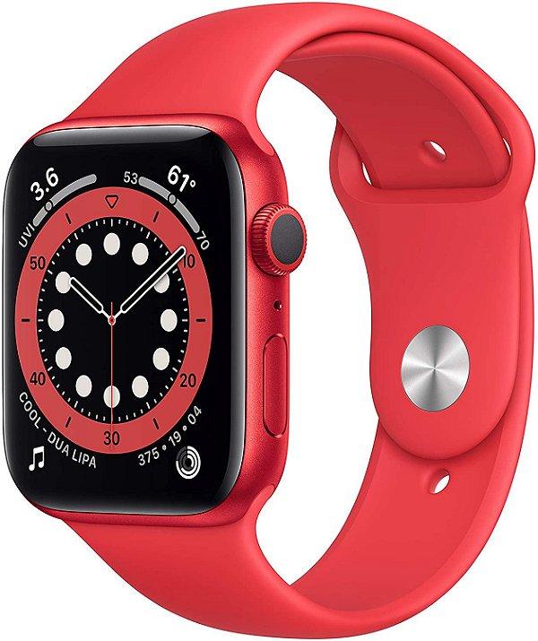 Apple Watch Series 6 Aluminum Case Com Red Sport Band 44mm (GPS) Com Oximetro Pulseira Esportiva  (A2292)