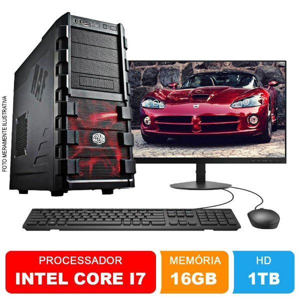 Microcomputador Completo Intel Core i7 3.9Ghz 16gb Ram HD 1TB Monitor 18,5 Polegadas Teclado e Mouse