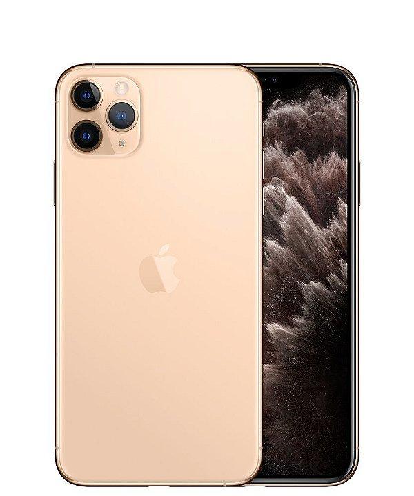 "IPHONE 11 PRO MAX (256GB) DOURADO TELA 6.5"" CÂMERA TRIPLA 12MP IOS - Apple"