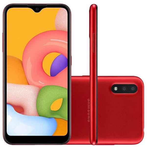 Smartphone Galaxy A01 32gb Tela Infinita 5,7' – 2GB de RAM - Câmera Dupla Traseira / Vermelho - Samsung