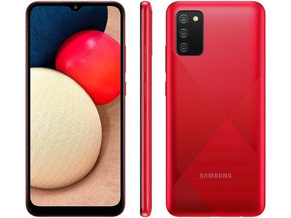 """Smartphone Galaxy A02s Vermelho, 3GB RAM com Tela Infinita de 6,5"""", 4G, 32GB e Câmera Tripla de 13MP + 2MP + 2MP - Samsung"""
