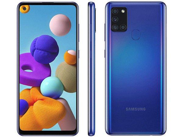 """Smartphone Galaxy A21s, Octacore, 64GB,GB RAM, Tela 6,5"""", Câmera Quádrupla De 48MP, Dual Chip, Azul - Samsung"""