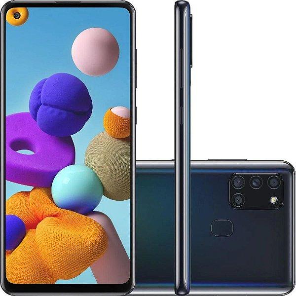 """Smartphone Galaxy A21s, Octacore, 64GB,GB RAM, Tela 6,5"""", Câmera Quádrupla De 48MP, Dual Chip, Preto - Samsung"""