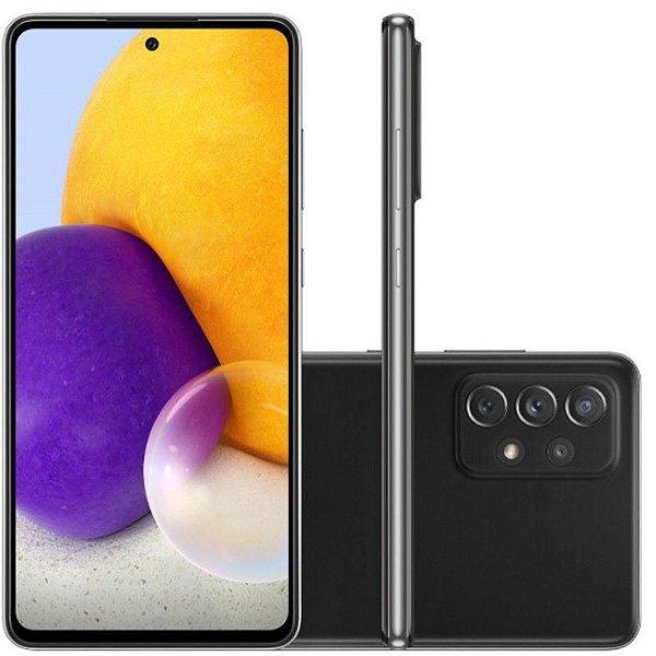 "Smartphone Galaxy A72, Câmera Quádrupla de 64MP+12MP 8MP 5MP, Tela de 6,7"", 6GB RAM  Octa Core, Preto - Samsung"