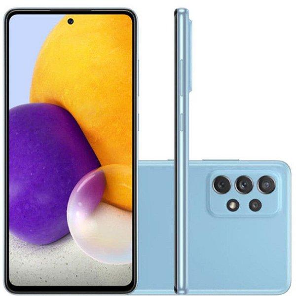 "Smartphone Galaxy A72, Câmera Quádrupla de 64MP+12MP 8MP 5MP, Tela de 6,7"", 6GB RAM  Octa Core, Azul - Samsung"
