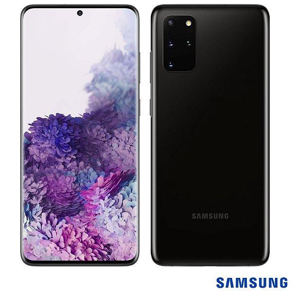 "Smartphone Galaxy S20+, 128 GB, 8GB RAM, Tela de 6,7"", Câmera Quádrupla Traseira de 64MP (Telephoto) + 12MP (Ultra Wide) + 12MP (OIS) + ToF (Scanner 3D), Octa Core, Cosmic Black - Samsung"