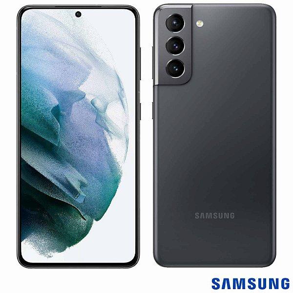 """Smartphone Galaxy S21 Cinza, com Tela Infinita de 6,2"""", 5G, 128GB, Câmera Tripla de 12MP+64MP+12MP - SM-G991BZWJZTO - SGSMG991ZWBCO - Samsung"""