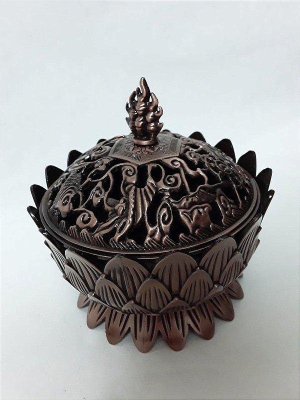 Incensário Flor de Lótus em metal - Médio