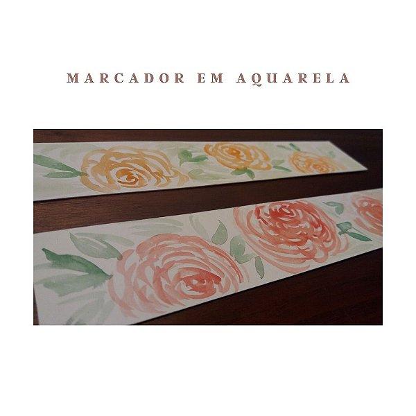 MARCADOR DE PÁGINAS EM AQUARELA - ROSAS