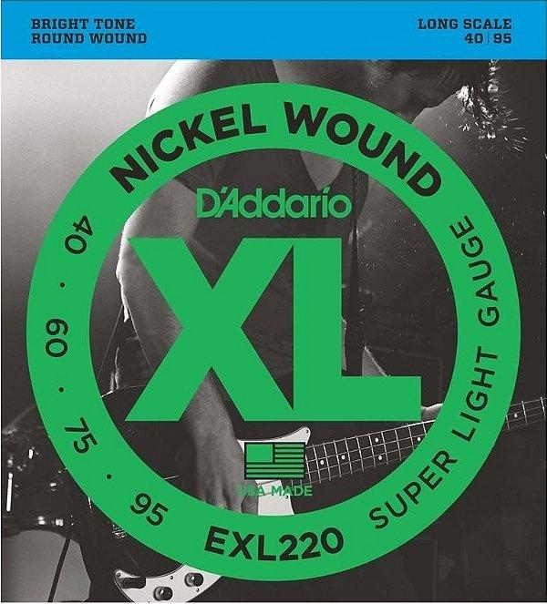 Encordoamento D'addario cordas para baixo EXL220