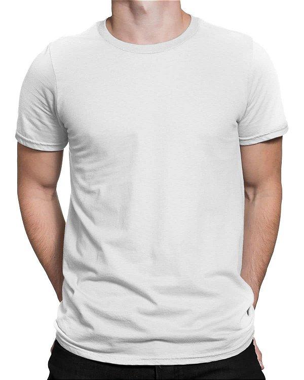 Camiseta Masculina Lisa Tradicional Branca - 100% Algodão 30.1 Penteado
