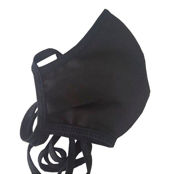 Máscara Ninja Anatômica de Amarrar Algodão - Preta