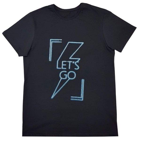 Camiseta Let's GO Masculina Preta (Brinde Máscara)