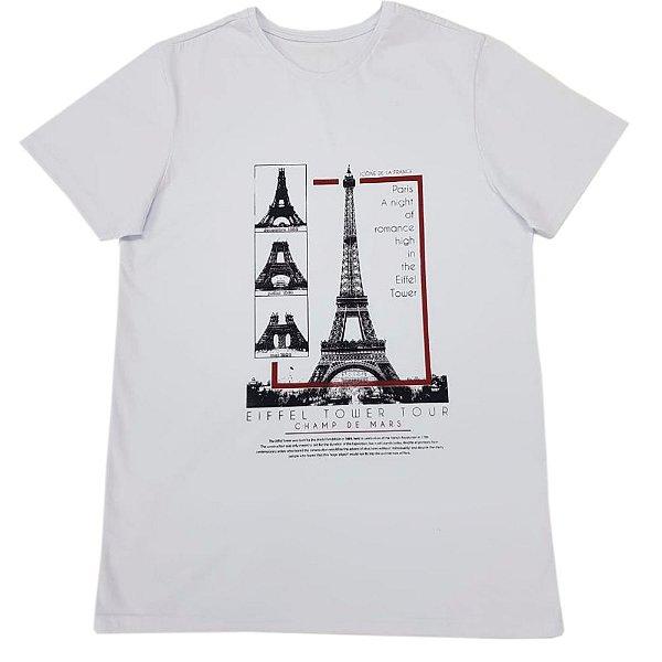 Camiseta Branca Masculina Torre Eiffel (Brinde Máscara)